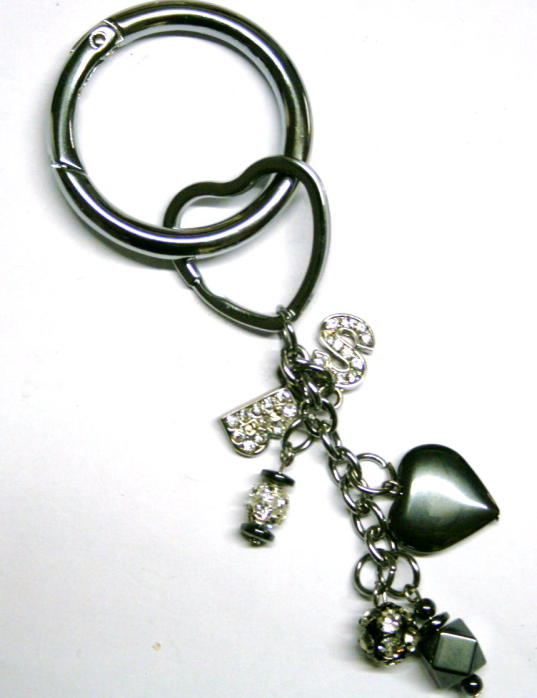 10 x Round Keyring With Chain / Chrome